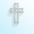 3d Celtic style cross on a blue gradient background with space f