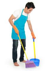 man sweep floor