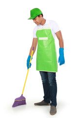 man sweep floor