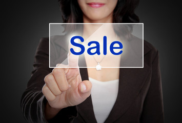 woman push to  Sale button on virtual screen