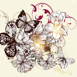 Beautiful vector pattern with butterflies