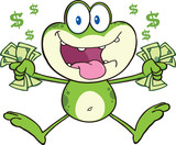 Crazy Green Frog Cartoon Character Jumping With Cash