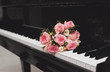 Bouquet of flowers and piano