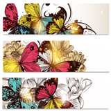 Business cards set with butterflies and  flowers  for design