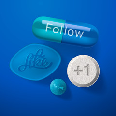 Social media addiction, pills capsules on blue, vector Eps10.