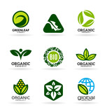 Icons of organic products and ecology. Eco icons (11)