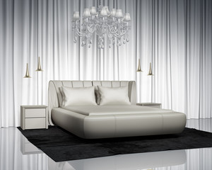Luxury contemporary bedroom with leather  bed and chandelier
