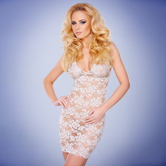 Glamorous young blond in a see-through dress
