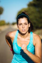 Woman intense running