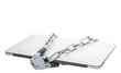 Laptop and chains over white background for PC security