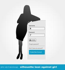 eps Vector image:silhouette lean against Girl 5