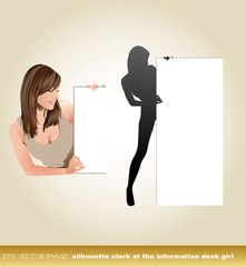 eps Vector image:silhouette clerk at the information desk Girl