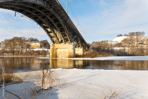 bridge over the river in winter