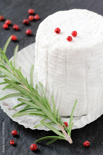 Italian goat cheese with soft white mold on a baking paper
