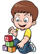 Vector illustration of Boy playing blocks