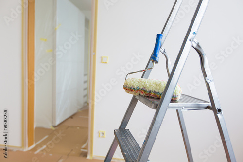 Ladder and roller, home renovation
