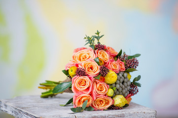 Wedding bouquet with beautiful orange roses