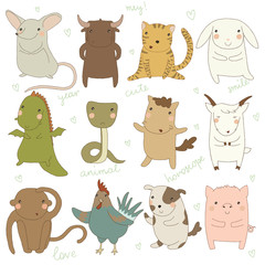 Chinese astrology. Icon set