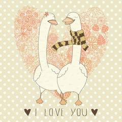 Romantic card Valentine's day with funny swans
