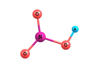 Nitric acid molecular structure on white