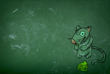 Green table and cartoon rat
