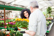 Man selling flowers in a greenhouse