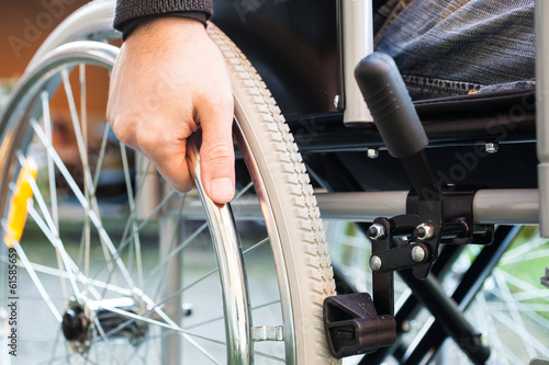 canvas print picture Man using his wheelchair