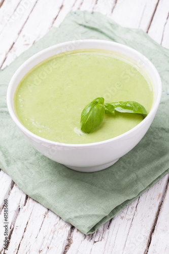 Soup made of green vegetables.