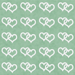 White Interwoven Hearts and Green Thin Stripes Horizontal Textur