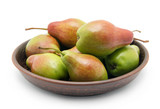 Pears in bowl on white background