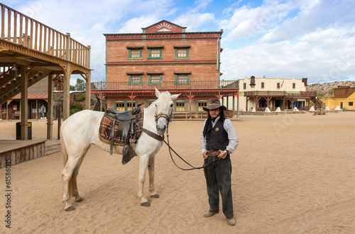 Sheriff and Horse at Mini Hollywood  Almeria Andalusia Spain