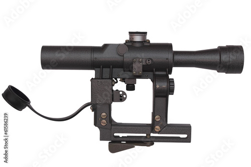 Gray military riflscope isolated on white