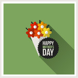 Happy Mother's Day. Flat design greeting card with bouquet