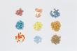 Variation of pills on white background