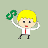 Businessman is happy and holding money sign