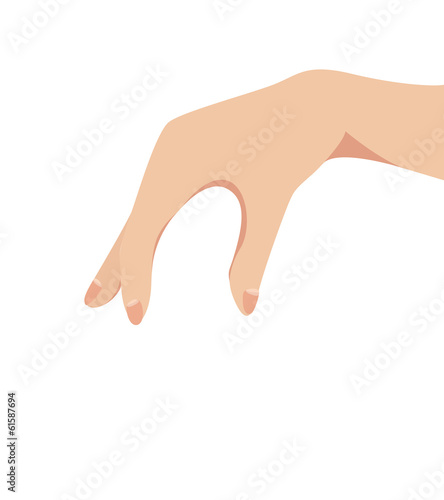 Female hand pinching or catching vector