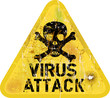 Computer virus attack alert, grungy sign, vector