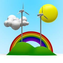 Turbine eoliche con arcobaleno