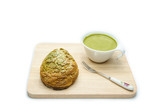 matcha chou cream and green tea