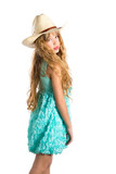 Blond fashion cowboy hat girl with turquoise dress