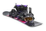 Snowboard with boot, gloves and goggles - clipping path.