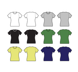 Set of Female T-shirt template