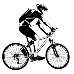 Black and white illustration of cyclist on a mountain bike
