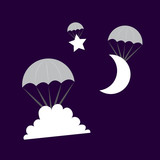 Cloud Moon and Star symbols parachuting from the sky