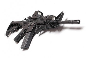 AR-15 carbine on white background