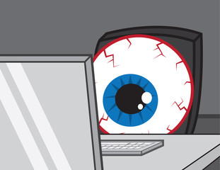 Large bloodshot eye staring at computer