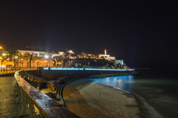 Old Jaffa at night . panoramic view.  Israel