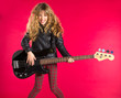 Blond Rock and roll girl with bass guitar on red