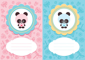 Baby-boy and baby-girl cards with cute panda