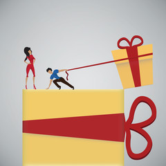 A man gives a gift to his woman